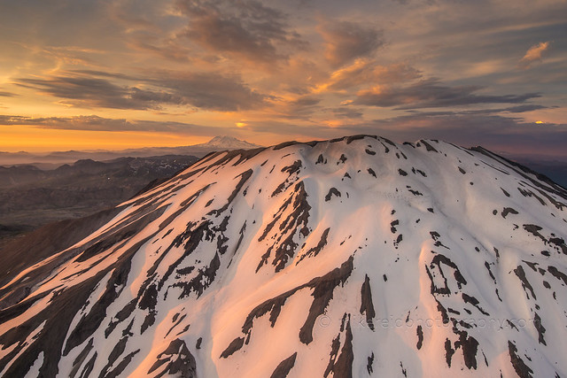 Aerial Close to St Helens and Rainier Beyond at Sunset Zeiss 25mm Milvus