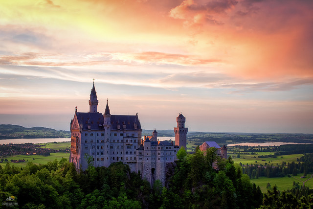 Sunset over Neuschwanstein Castle