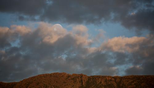 moon lunar mtwellington hobart tasmania mountain ridge clouds sky australia