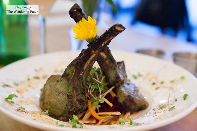Clove smoked lamb chops with cardamom & clove masala