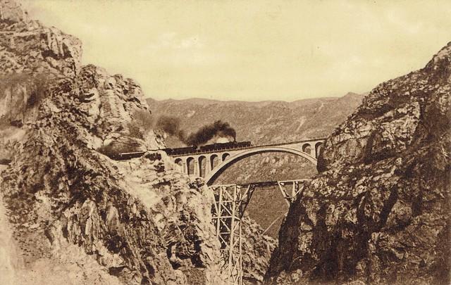 Iran (Persia) Railways - A steam train on Veresk bridge (