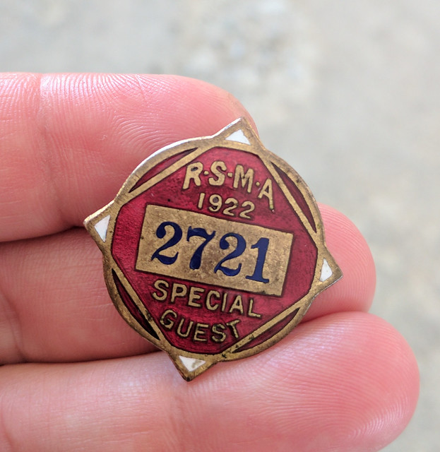 RSMA 1922 Special Guest badge, Rose Bowl Flea Market, Pasadena, California, USA