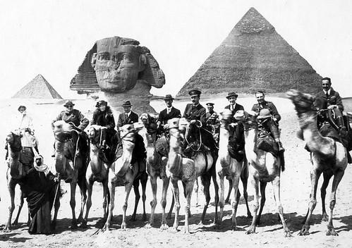 Winston Churchill, Gertrude Bell (3rd from left), T. E. Lawrence (Lawrence of Arabia) at Giza during the 1921 Cairo Conference | by levanrami