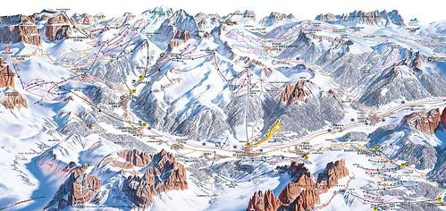 Val di Fassa - Belvedere Col Rodella Ciampac Buffaure - mapa sjezdovek
