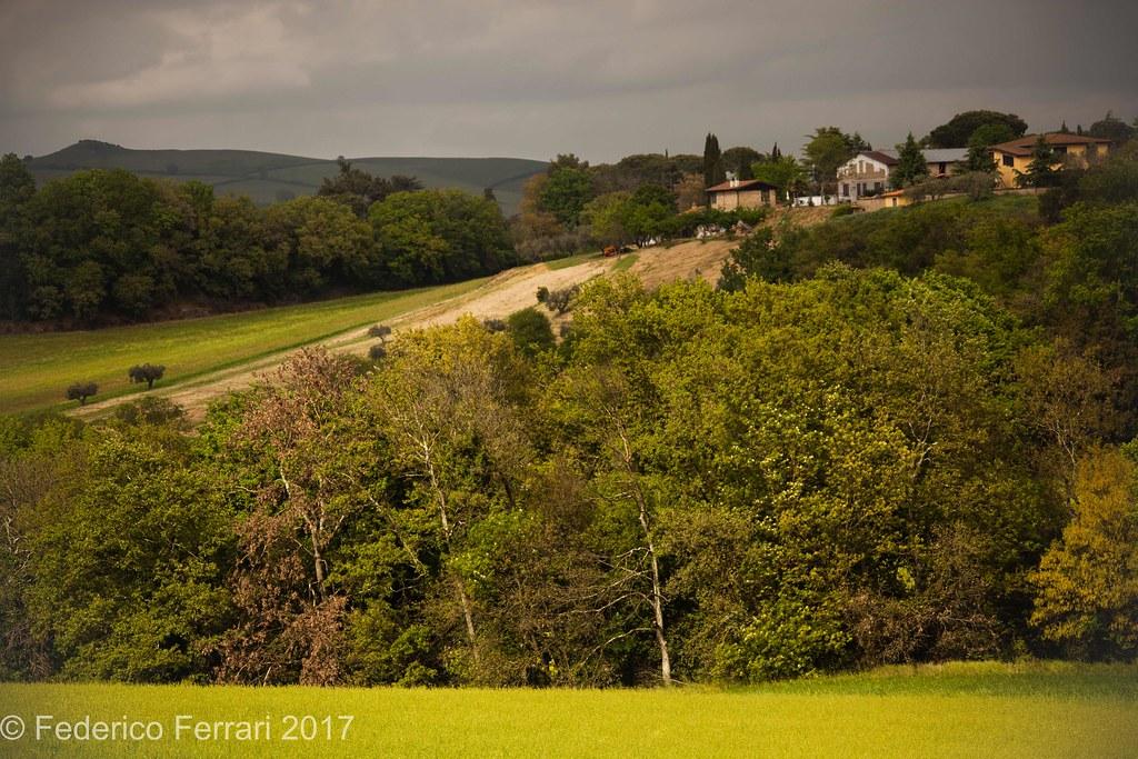 Paesaggio, collina e fattoria Tomba dei leoni ruggenti