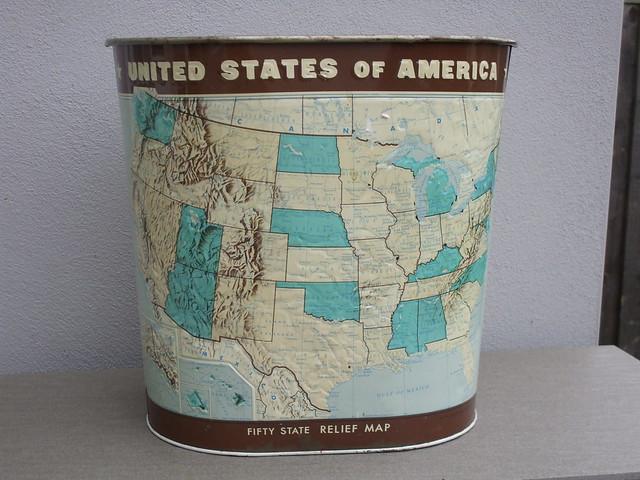 Vintage 50 State USA Metal Waste Bin