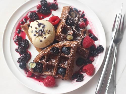 Earl grey waffles with honey lavender ice cream, warmed berries