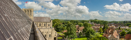 winchester hampshire roof tower view panorama countryside hill town