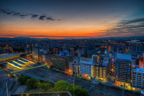 ōsakashi ōsakafu japan jp sunrise twilight skyline city cityscape modern train building architecture cloud sky