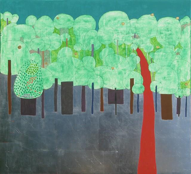 Ліс, 2009р., дошка, левкас, срібло, жовткова темпера, 32х35см.