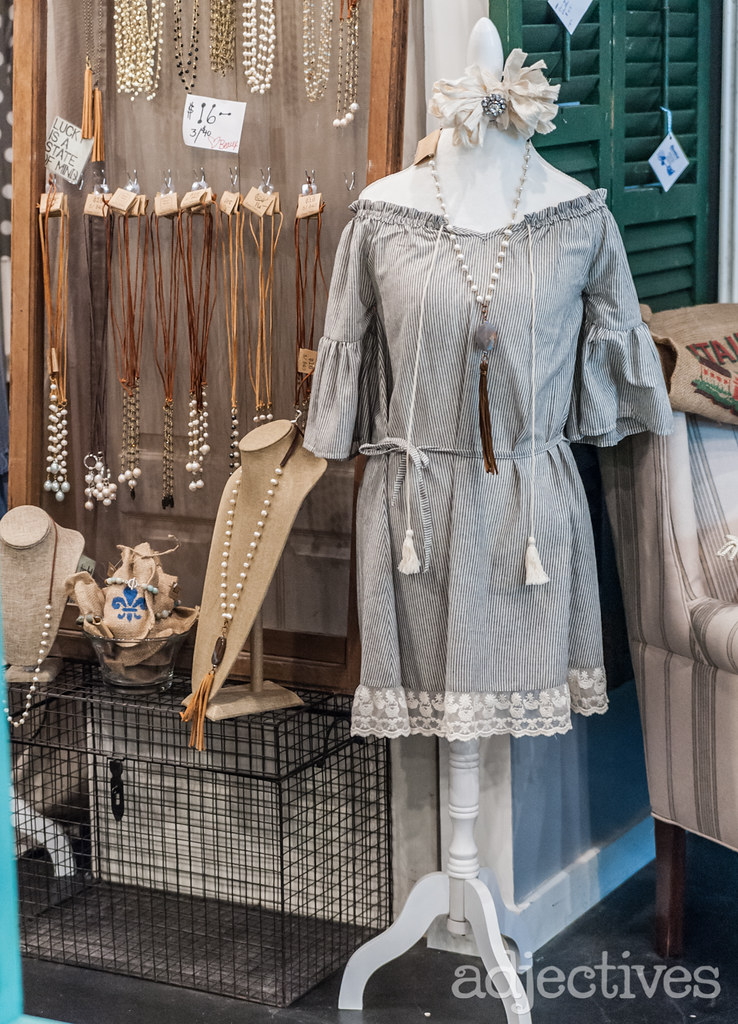 Vintage inspired dress and handmade jewelry by Beaux Studios at Adjectives Winter Garden