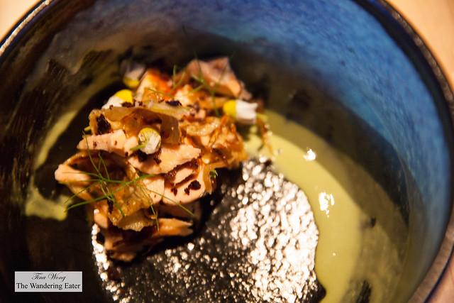 Poached salmon, green goddess sauce, Kalamata olives