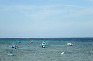 Fisheerman's boats sailing into the sea in Hurgada, Egypt