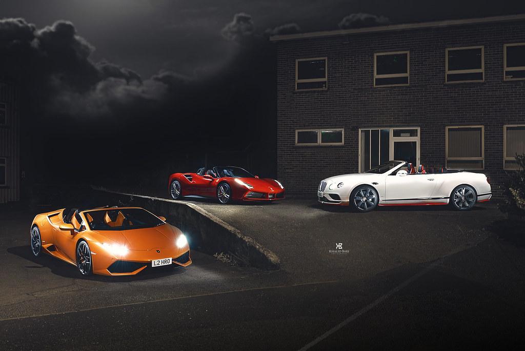 3 Roadsters , Lamborghini Huracan Spyder, Ferrari 488 Spid