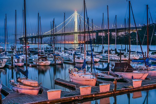 bayarea california nikon d810 color june 2017 spring boury pbo31 northerncalifornia sanfrancisco city blue baybridge 80 bridge easternspan marina sail boat motionblur treasureisland bluehour sunrise morning orange fog sas