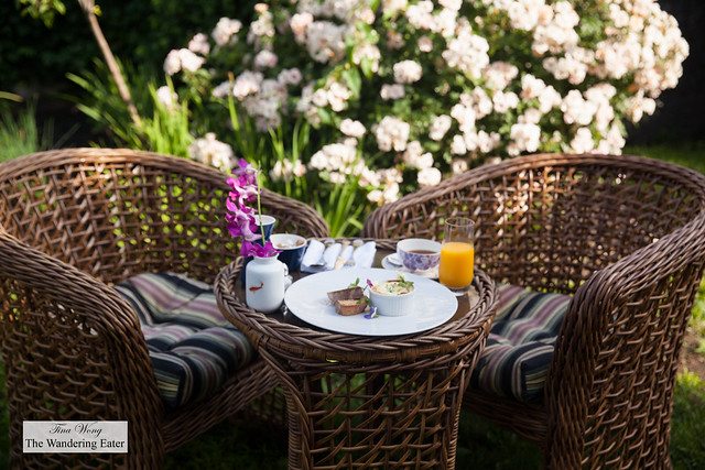 Having breakfast at the garden