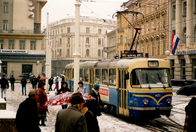 Tatra T4YU 421+821 Zagreb Croatie Hrvatska 1994a