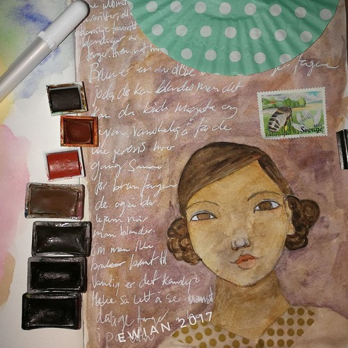 playing with brown watercolour girl | by ewian