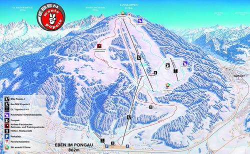 Eben im Pongau - mapa sjezdovek
