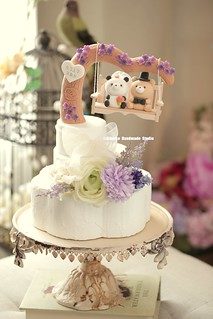 Panda and bear with the handmade flowers swing Wedding Cake Topper   by charles fukuyama