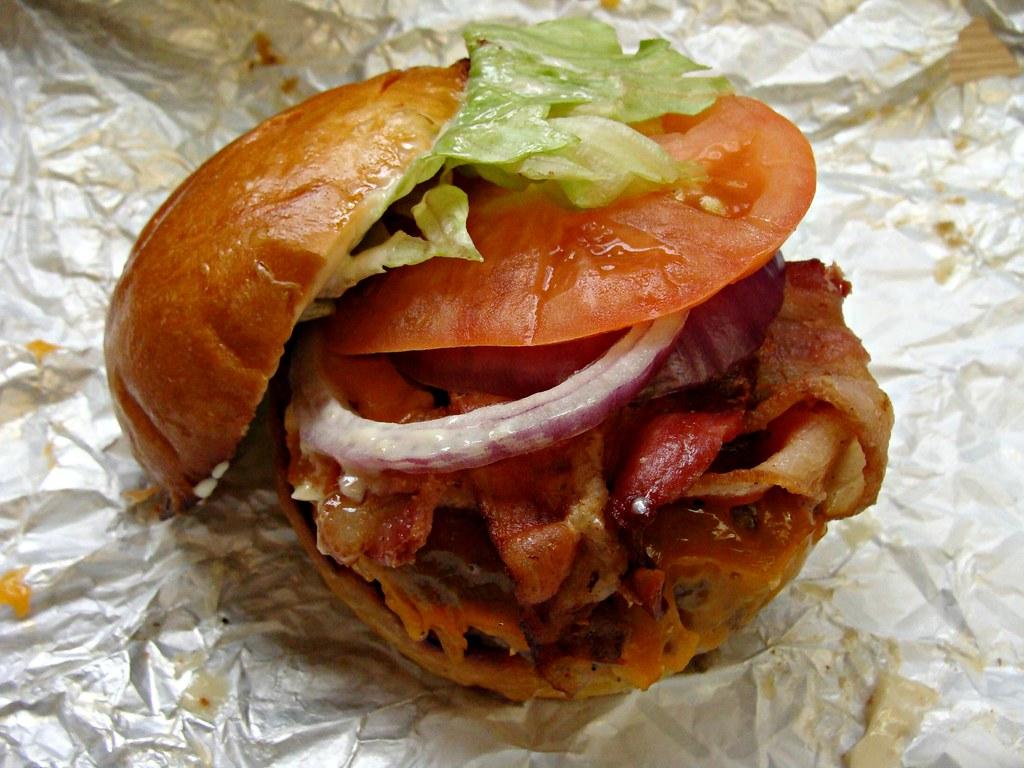 Cannibal Bacon Bad Burger   Applewood smoked Bacon and Chedd
