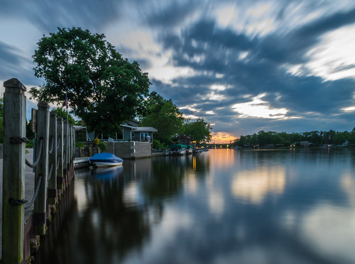 elkhart hff indiana nikon nikond5300 outdoor stjosephriver boat clouds evening fence geotagged longexposure reflection reflections river sky sunset tree trees water unitedstates