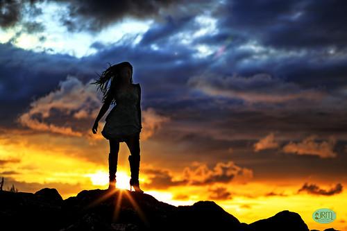 sunset silhouette talia guam cabras