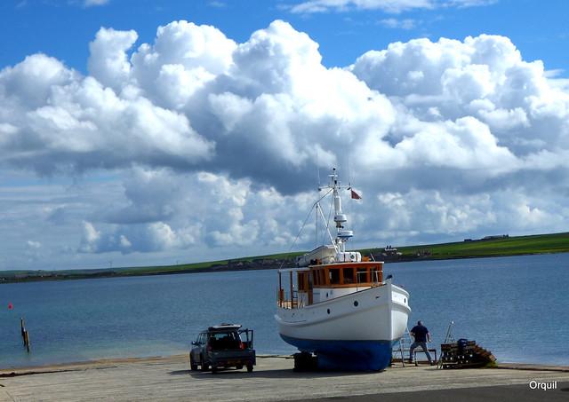 A Modern Motor Boat At Hatston Launch Slip