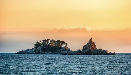 sunset adriatic sea island landscape