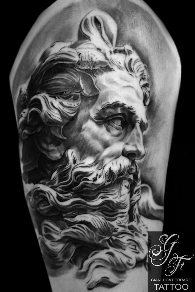 Poseidon Tattoo Arte Gianluca Ferraro Statue Artist Napoli