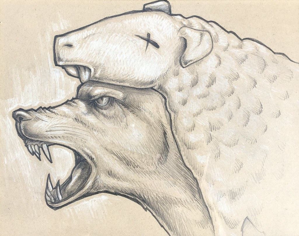Wolf in sheep's clothes pencil and white charcoal on kraft paper by Doc thehigherauthority