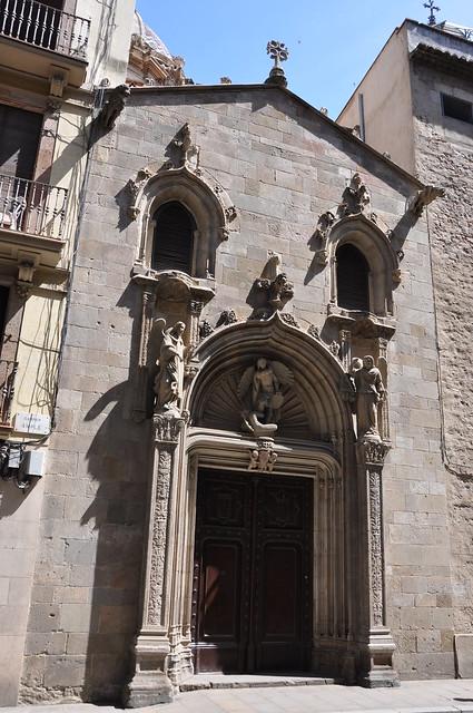 Barcelona (Ample street).  Former portal of Sant Miquel church, reconstructed in 1872 next to La Mercè. 1516. René Ducloux, sculptor. Gabriel Pellicer and Pau Mateu, builders.