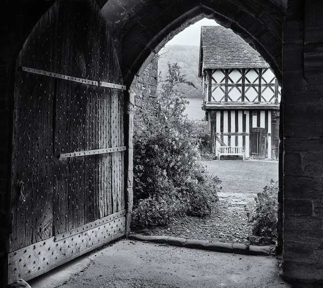 Stokesay Castle.  The lodge through a doorway.