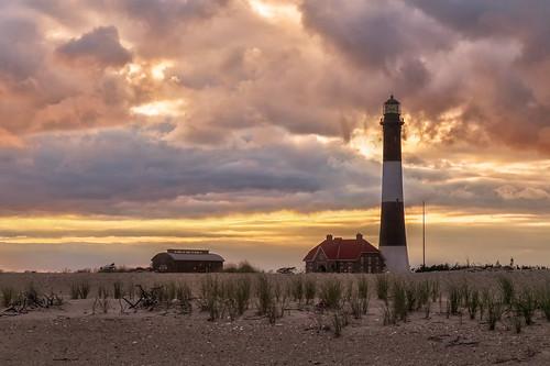 fire island lighthouse long ny atlantic ocean sunset evening sea seashore summer cloud sky