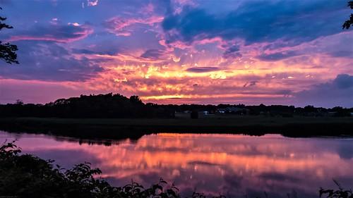 sunset sky sun clouds reflection river tauntonriver