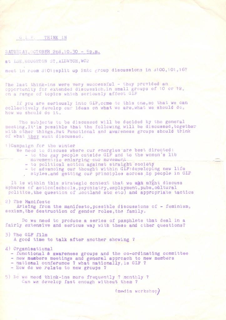 Gay Liberation meeting at LSE, 2 October 1971 | HCA GLF 3