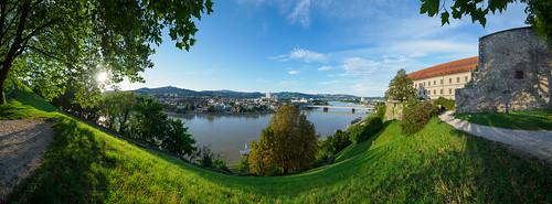 austria linz panorama river sunset summer castle