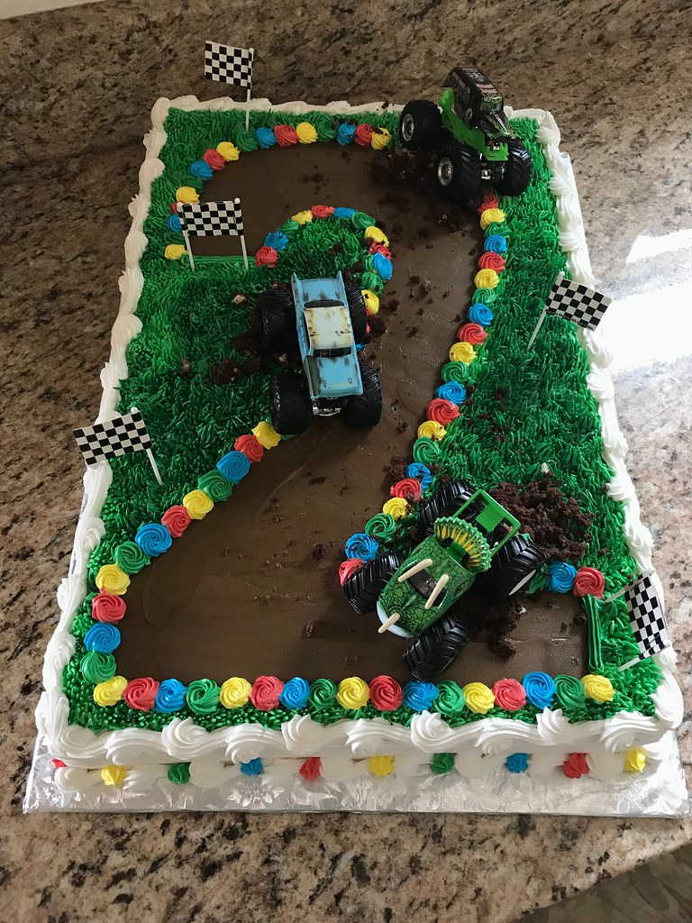 Phenomenal Monster Truck Cake 2Nd Birthday Grace Ful Cakes Flickr Funny Birthday Cards Online Fluifree Goldxyz