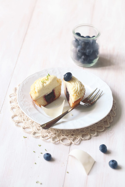 Lime Cupcakes with Blueberry Filling