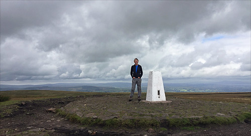 2017 ronlayters selfportrait 52trigpoints pendlehill trigpoint summit windy rainontheway erosion clouds pillar tp5370 fbs2161 forestofbowland areaofoutstandingnaturalbeauty barley nelson lancashire england unitedkingdom 52weeks 52 phonecamera iphone apple appleiphone6 selftimer tripod 10secondtimer weekthirty week30 30