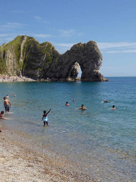 The swim to the arch, Durdle Door