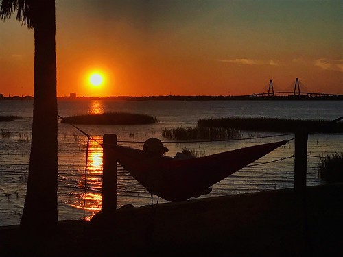 reflection river dusk hammock landscape horizon bridge sun sunset