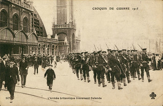 Royal marines passing through Ostend, 1915