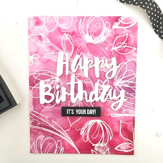 Happy birthday floral emboss resist   by Kimberly Toney