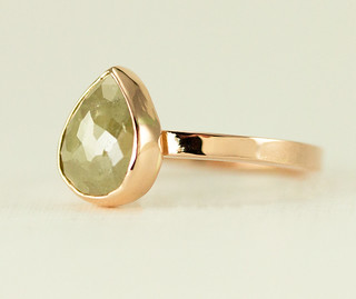 18k Rose Gold Raw Diamond Ring
