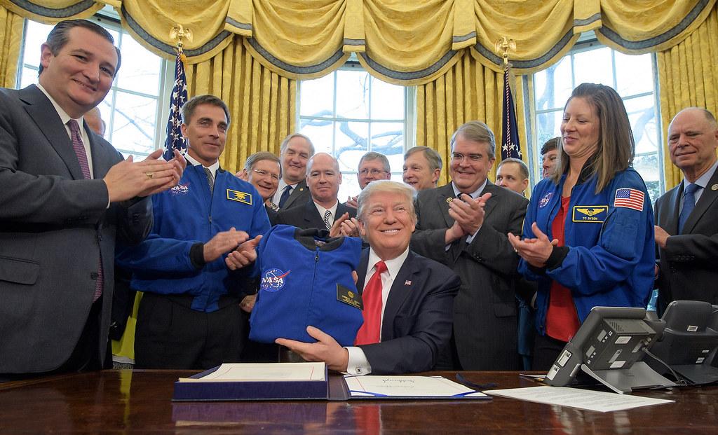 President Trump Holds Nasa Flight Jacket Transition Author Flickr