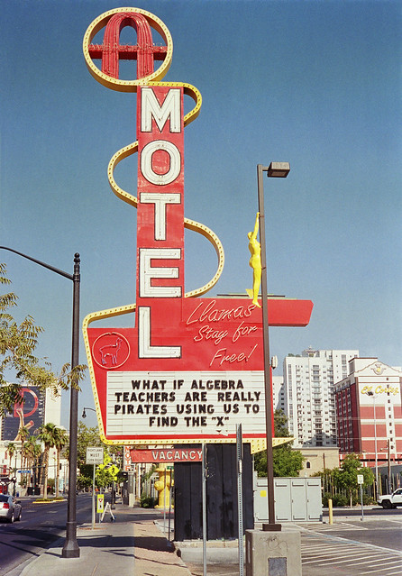 The old Ambassador Motel sign on Fremont Street, Las Vegas