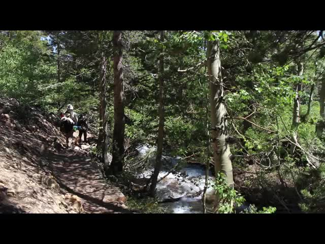 780 Video of hiking on the Paiute Pass Trail with a roaring creek beside us