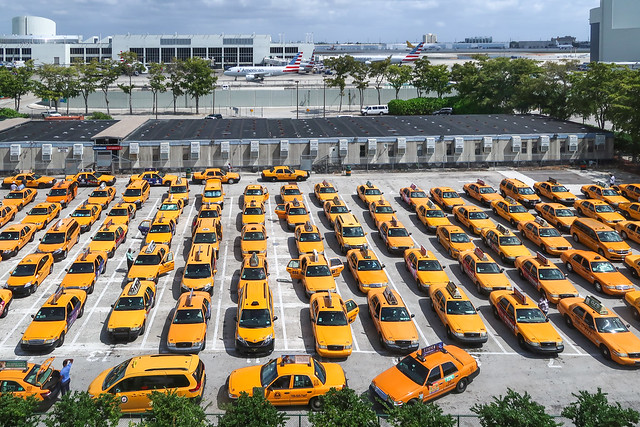 I got the famous view of the taxicabs from the peoplemover at the Miami airport.