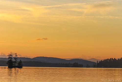 sunset water lake nature landscape mountains orange trees new englands highland bridgton maine clouds sky